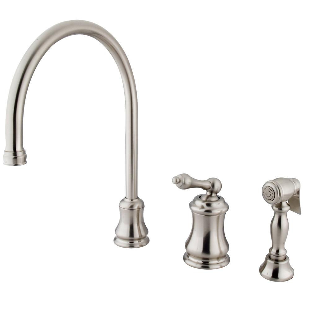 Satin Nickel Single Handle Widespread Kitchen Faucet w Side spray KS3818ALBS