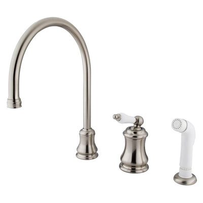 Satin Nickel Single Handle Widespread Kitchen Faucet with Sprayer KS3818PL