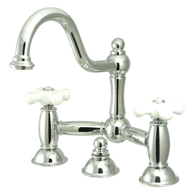 "Kingston Brass Chrome 8"" Centerset Bridge Bathroom Sink Faucet w/ drain KS3911PX"
