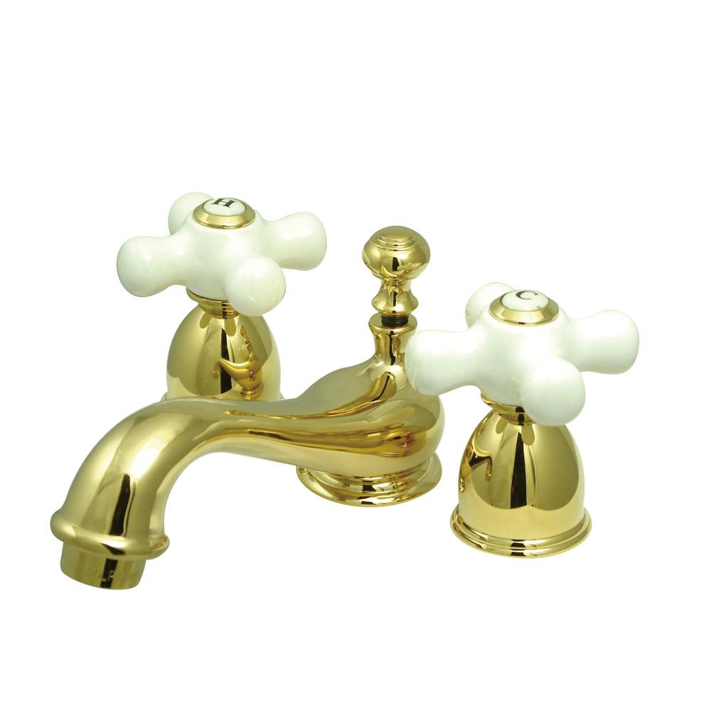 Kingston Brass Polished Brass Mini widespread Bathroom Lavatory Faucet KS3952PX