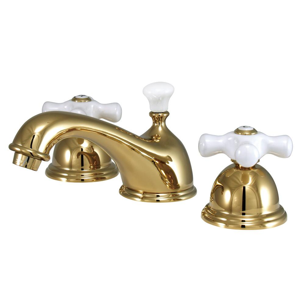 Kingston Polished Brass 2 Handle Widespread Bathroom Faucet w Pop-up KS3962PX