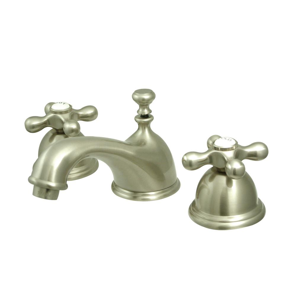 Kingston Satin Nickel 2 Handle Widespread Bathroom Faucet w Pop-up KS3968AX