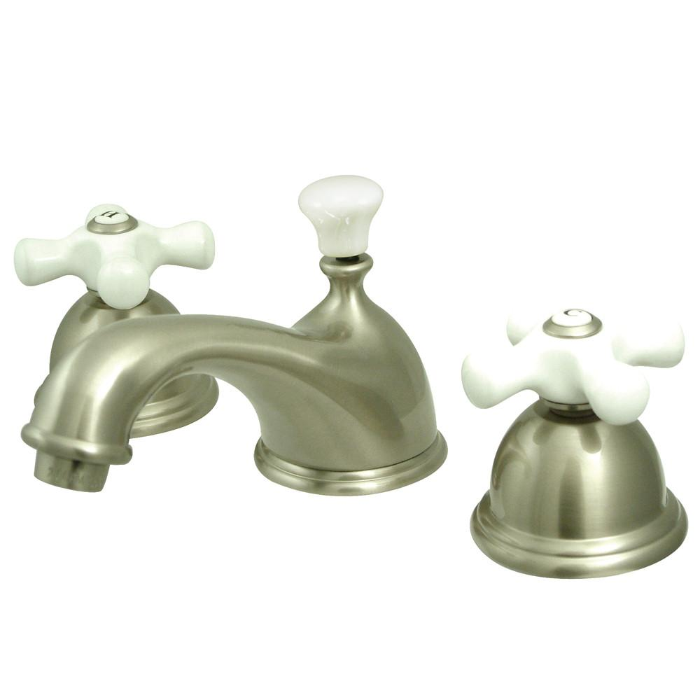 Kingston Satin Nickel 2 Handle Widespread Bathroom Faucet w Pop-up KS3968PX