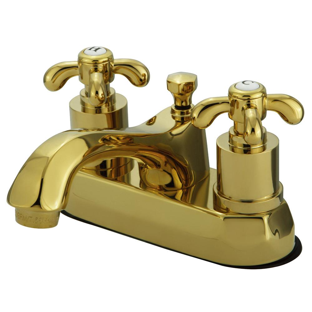 "Kingston Polished Brass French Country 4"" Center Set Bathroom Faucet KS4262TX"