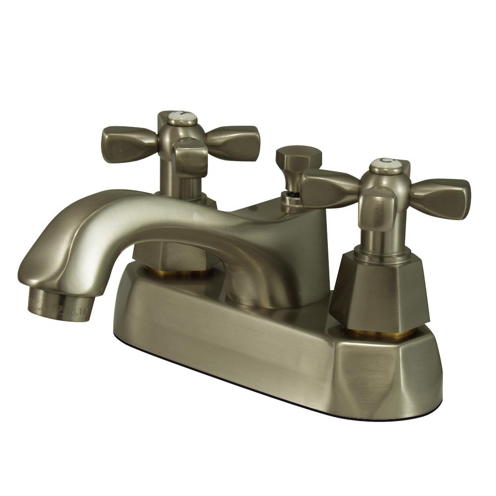 "Kingston Satin Nickel 2 Handle 4"" Centerset Bathroom Faucet w Pop-up KS4268HX"