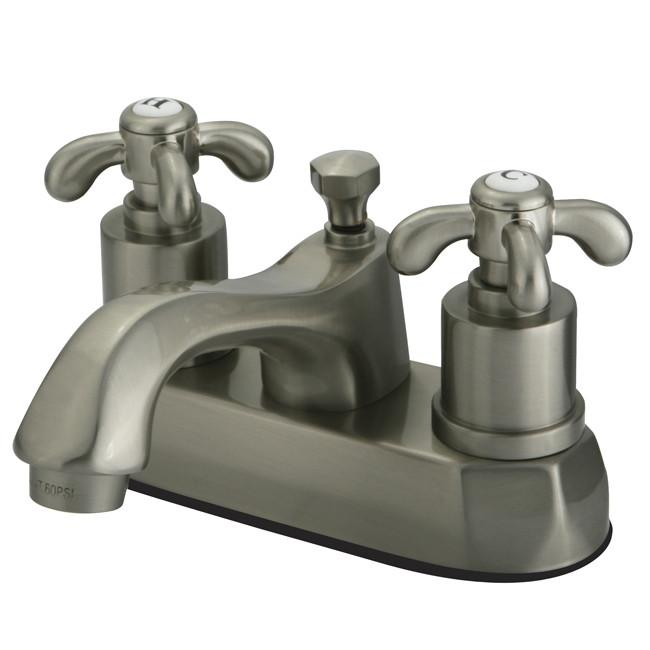 "Kingston Satin Nickel French Country 4"" Center Set Bathroom Faucet KS4268TX"