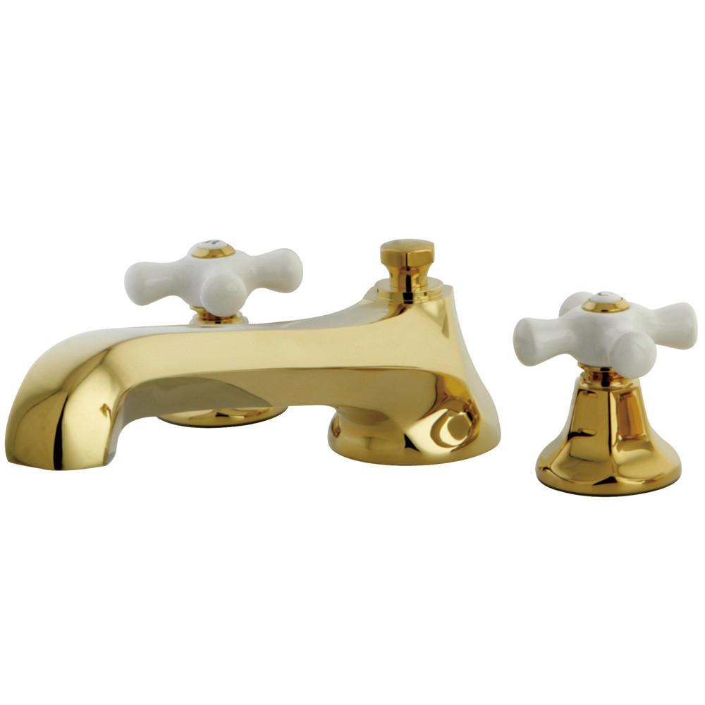 Kingston Polished Brass Metropolitan Two Handle Roman Tub Filler Faucet KS4302PX