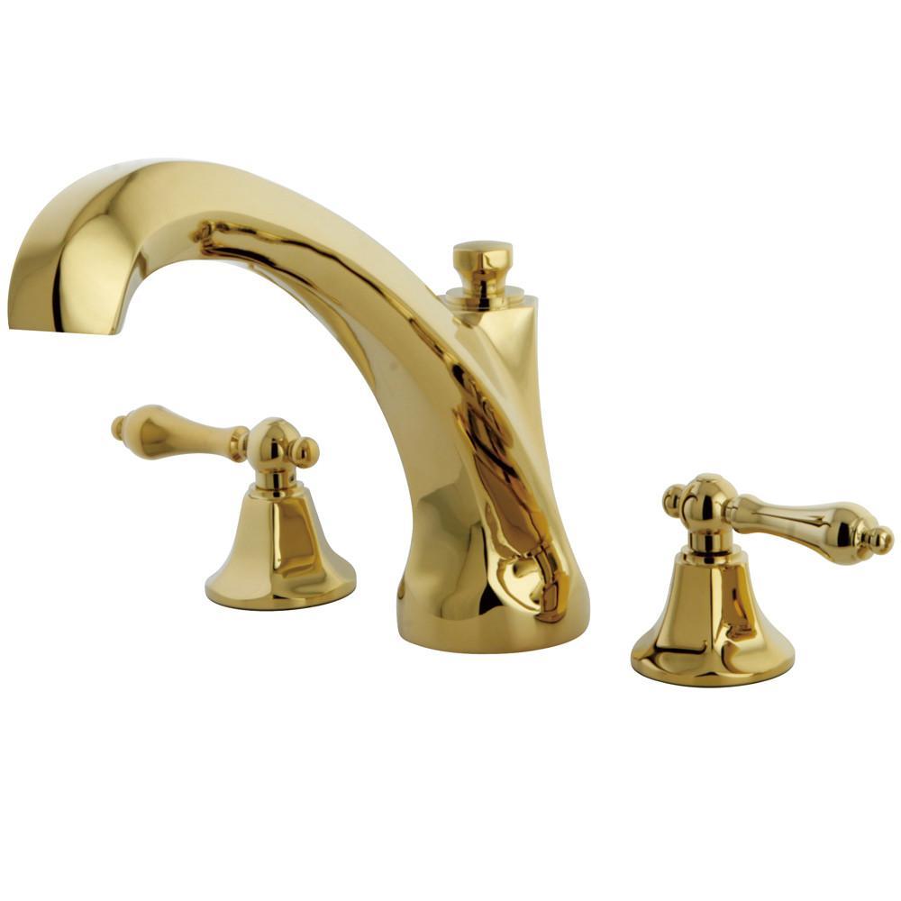 Kingston Polished Brass Metropolitan Two Handle Roman Tub Filler Faucet KS4322AL