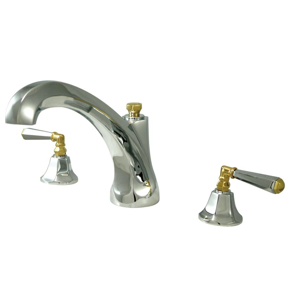 Kingston Chrome / Polished Brass Roman 2 Handle Roman Tub Filler Faucet KS4324HL