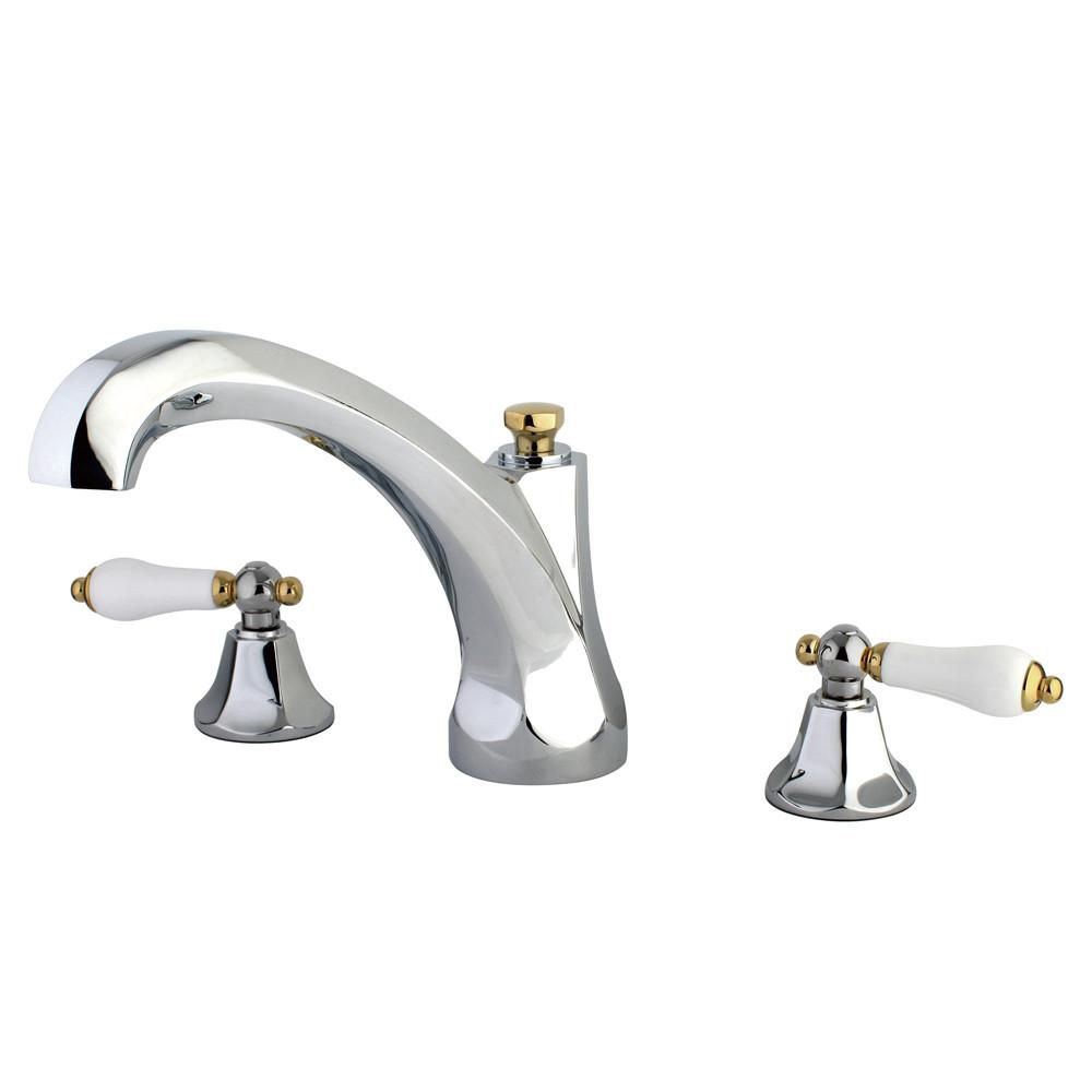 Kingston Chrome / Polished Brass Metropolitan Roman Tub Filler Faucet KS4324PL