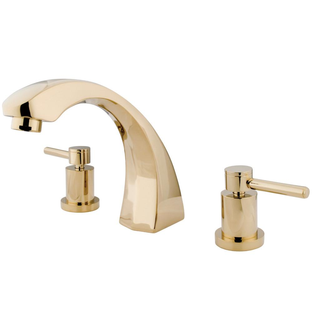Kingston Concord Polished Brass Two Handle Roman tub filler faucet KS4362DL