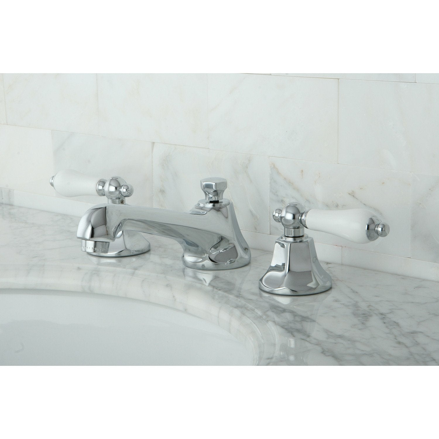Kingston Brass Chrome 2 Handle Widespread Bathroom Faucet w Pop-up KS4461PL