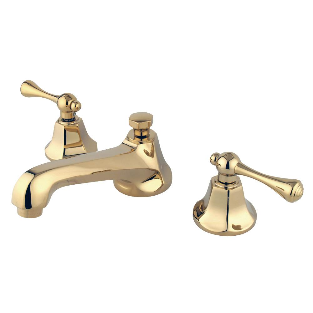 Kingston Polished Brass 2 Handle Widespread Bathroom Faucet w Pop-up KS4462BL