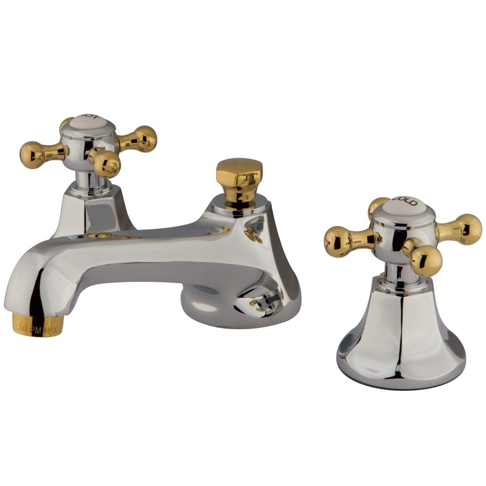 Kingston Chrome/Polished Brass Widespread Bathroom Faucet w Pop-up KS4464BX