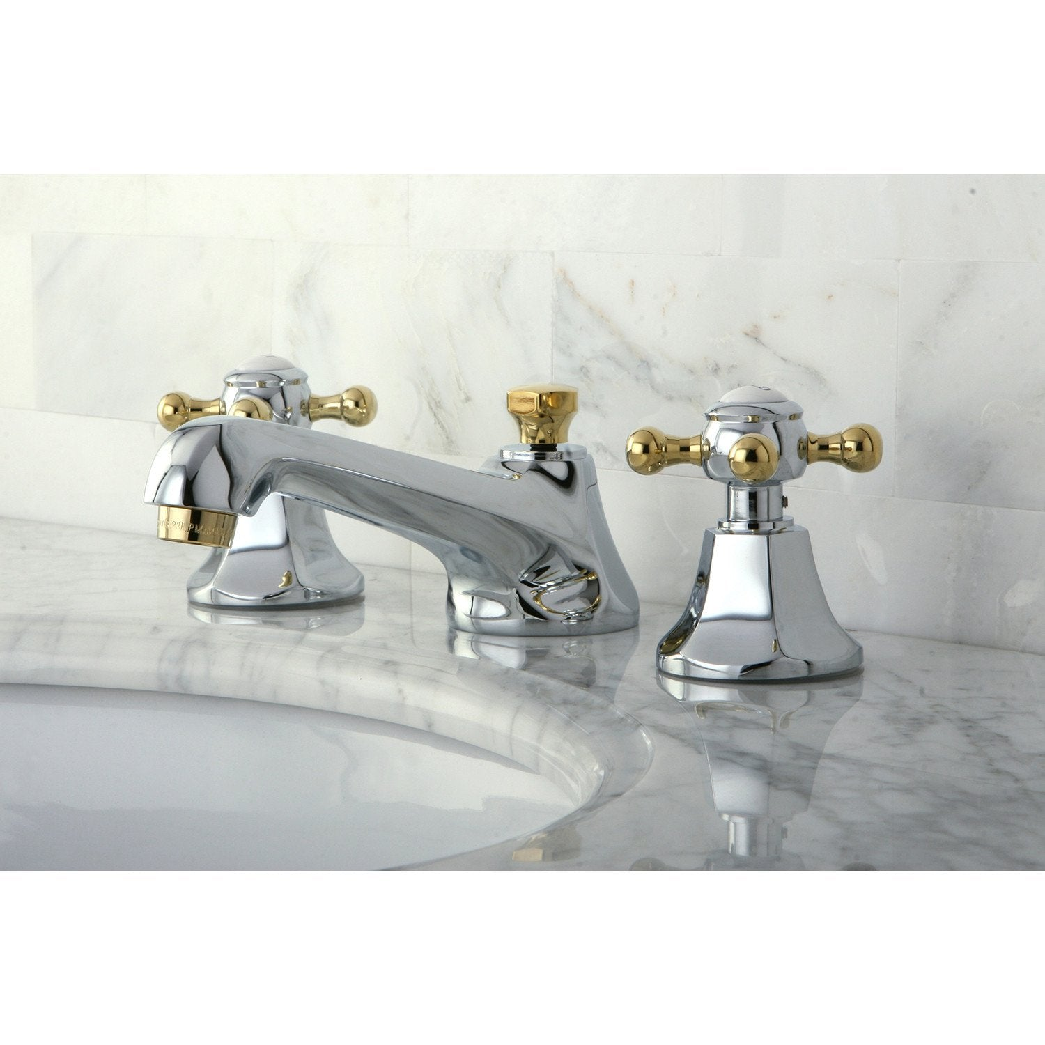 Kingston Chrome/Polished Brass Widespread Bathroom Faucet w Pop-up ...