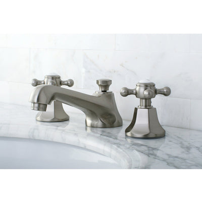 Kingston Satin Nickel 2 Handle Widespread Bathroom Faucet w Pop-up KS4468BX