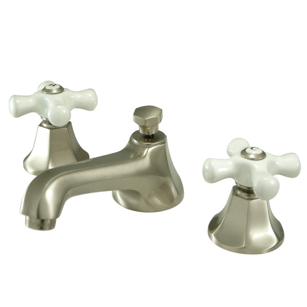 Kingston Satin Nickel 2 Handle Widespread Bathroom Faucet w Pop-up KS4468PX