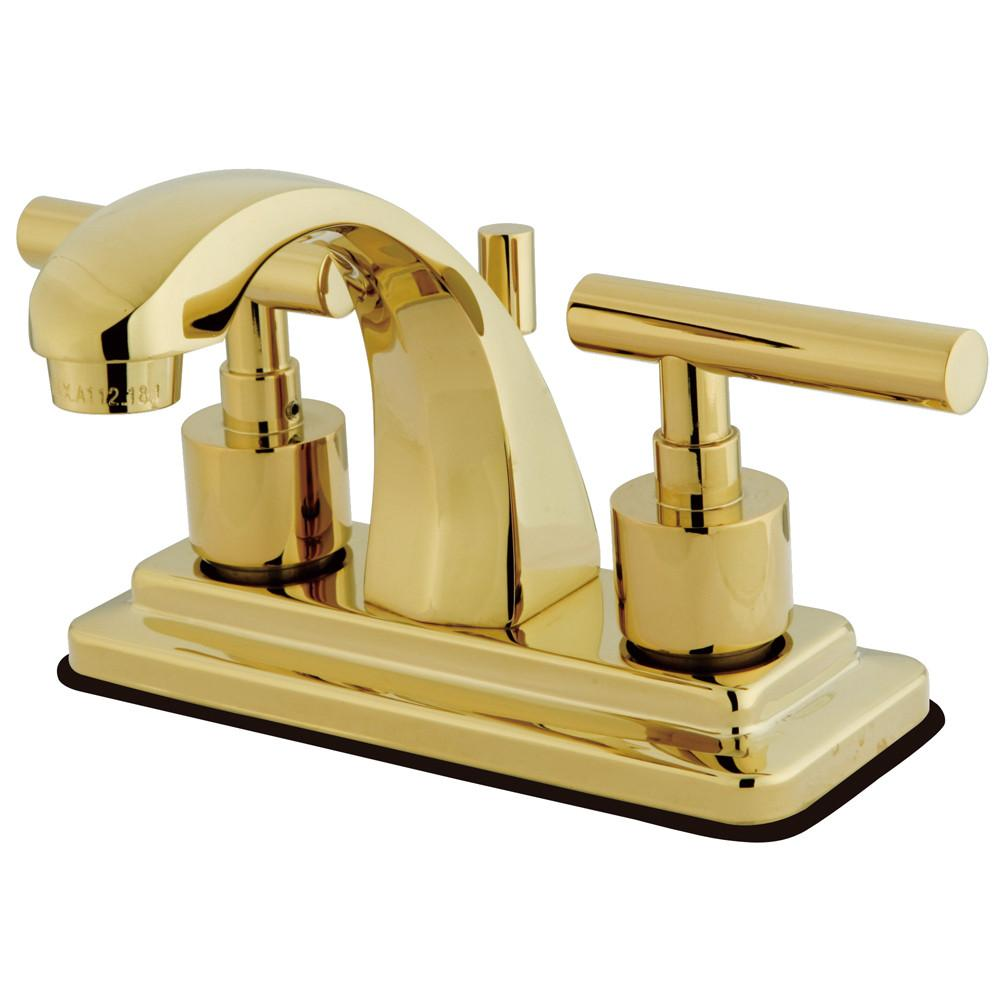"Kingston Polished Brass Manhattan 4"" Bathroom faucet with brass pop-up KS4642CML"