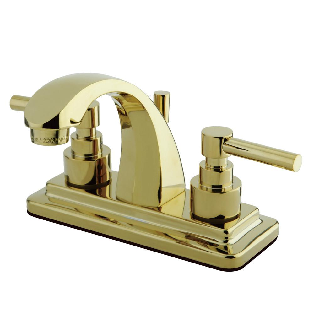 "Kingston Polished Brass 2 Handle 4"" Centerset Bathroom Faucet w Pop-up KS4642EL"