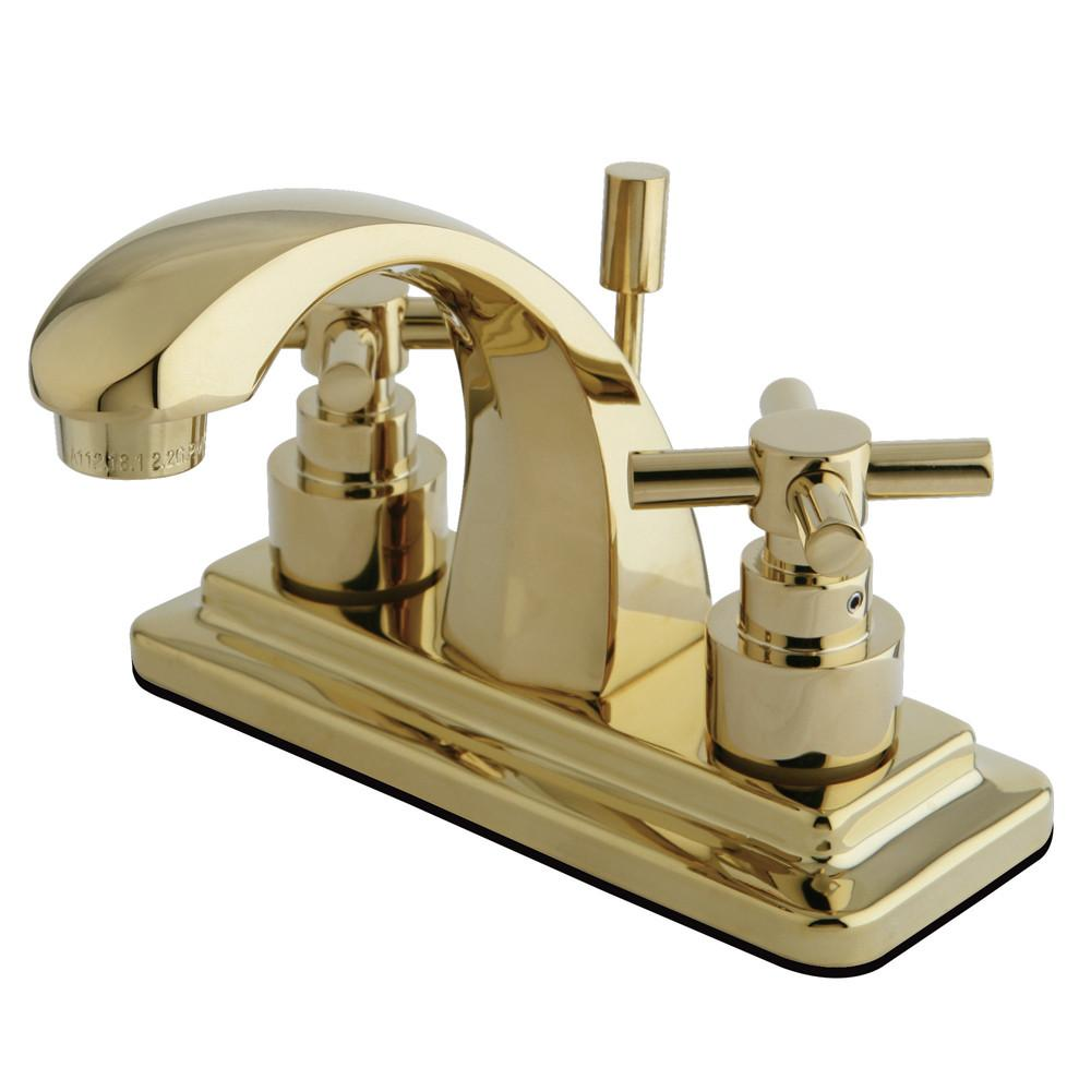 "Kingston Polished Brass 2 Handle 4"" Centerset Bathroom Faucet w Pop-up KS4642EX"