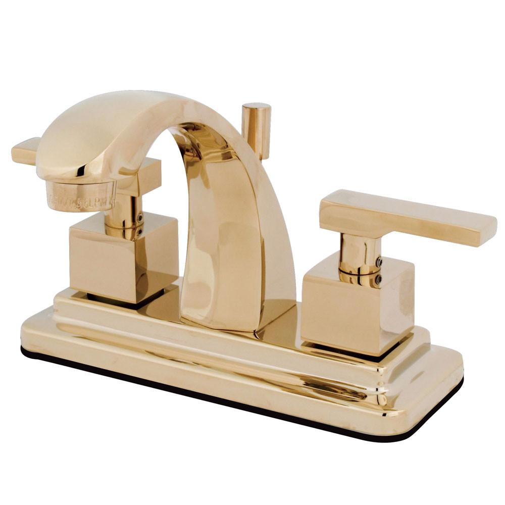 "Kingston Polished Brass 2 Handle 4"" Centerset Bathroom Faucet w Pop-up KS4642QLL"