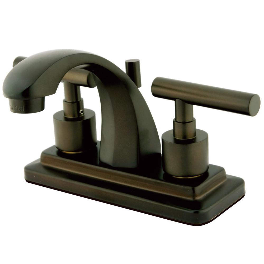 "Kingston Oil Rubbed Bronze Manhattan 4"" Bathroom faucet with drain KS4645CML"