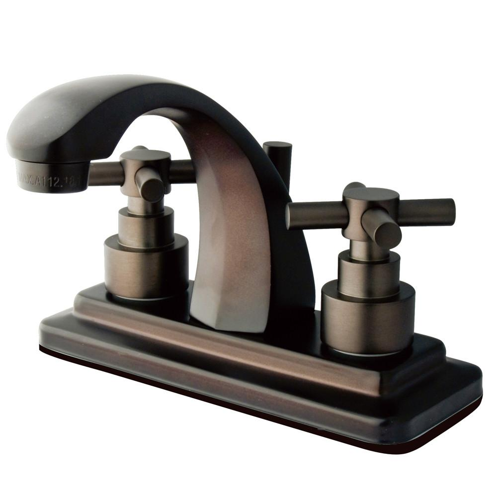 "Kingston Oil Rubbed Bronze 2 Handle 4"" Centerset Bathroom Faucet KS4645EX"