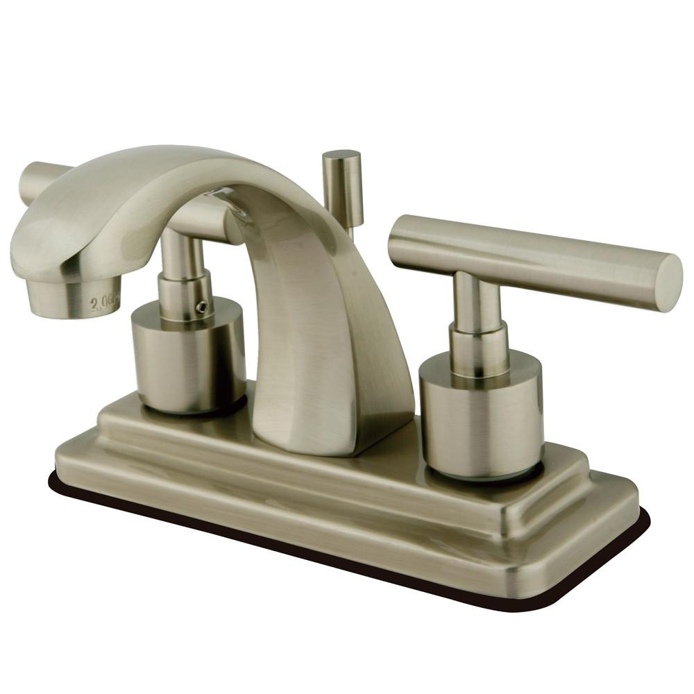 "Kingston Satin Nickel Manhattan 4"" Bathroom faucet with brass pop-up KS4648CML"