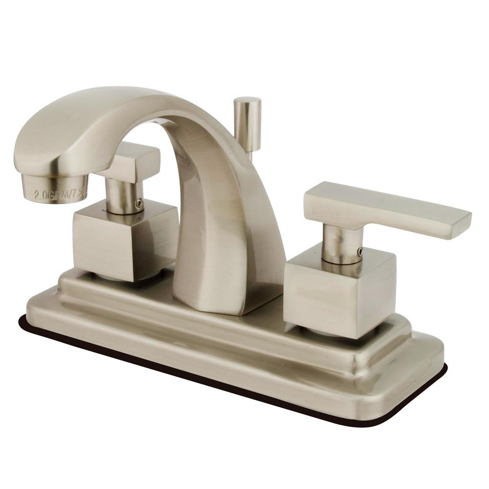 "Kingston Satin Nickel 2 Handle 4"" Centerset Bathroom Faucet w Pop-up KS4648QLL"