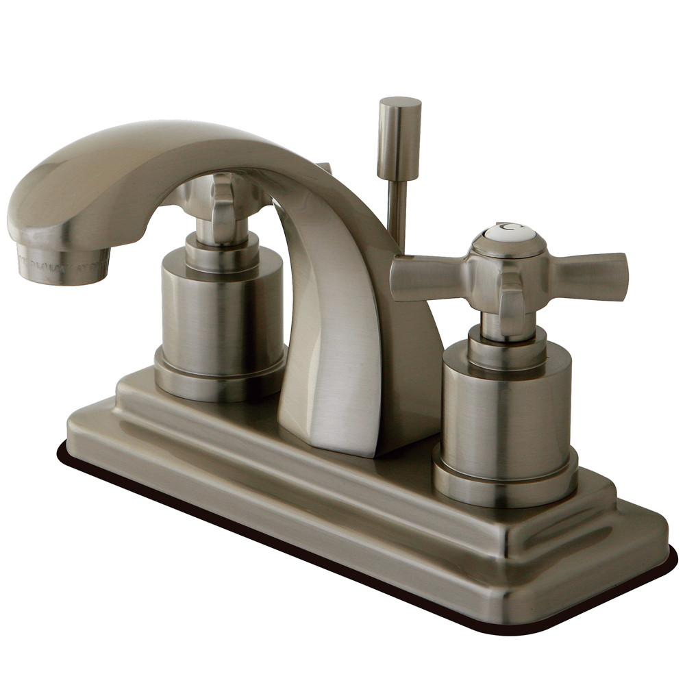 "Kingston Brass KS4648ZX 4"" Centerset Bathroom Faucet Satin Nickel"