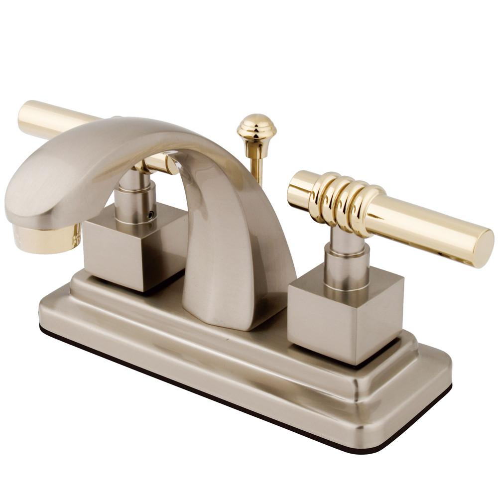 "Kingston Satin Nickel/Polished Brass 2 Hdl 4"" Centerset Bathroom Faucet KS4649QL"