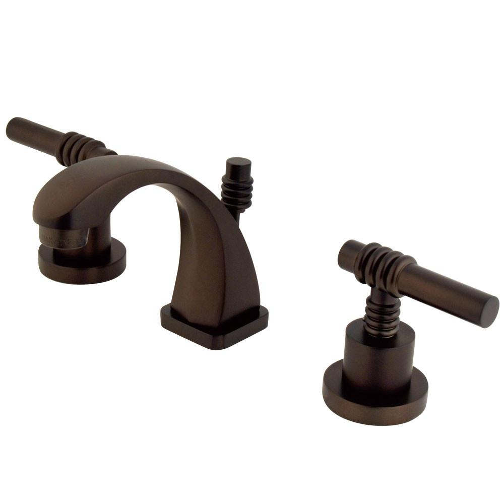 "Kingston Oil Rubbed Bronze 2 Hdl 4""-8"" Mini Widespread Bathroom Faucet KS4945ML"