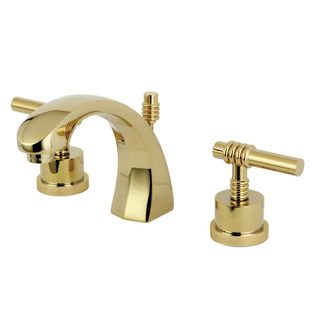 Kingston Polished Brass 2 Handle Widespread Bathroom Faucet w Pop-up KS4982ML