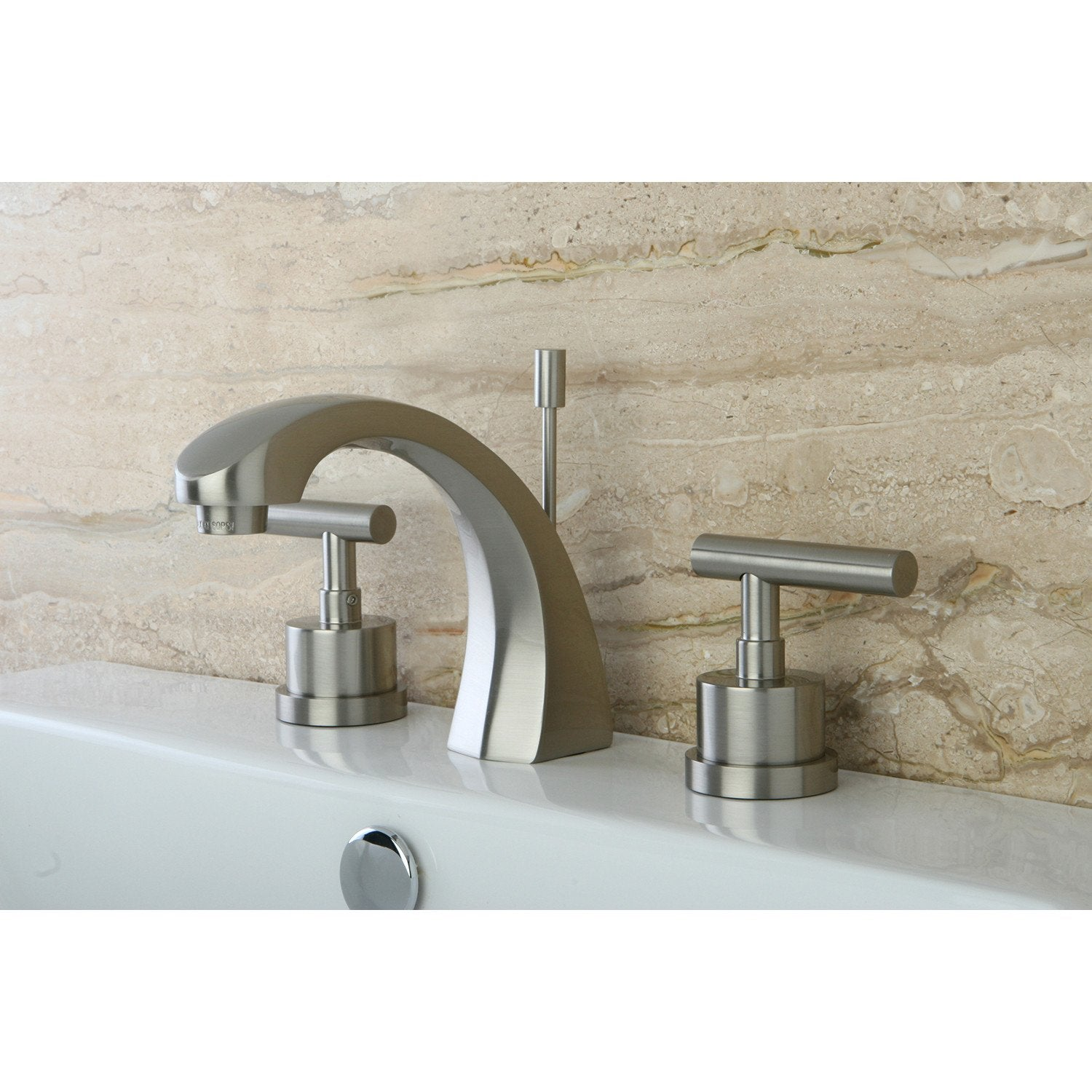 "Kingston Brass Satin Nickel Manhattan 8"" widespread Bathroom faucet KS4988CML"