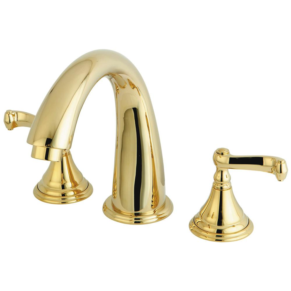 Polished Brass Royale 3 hdl Roman Tub Filler Faucet w Hand Shower KS5362FL