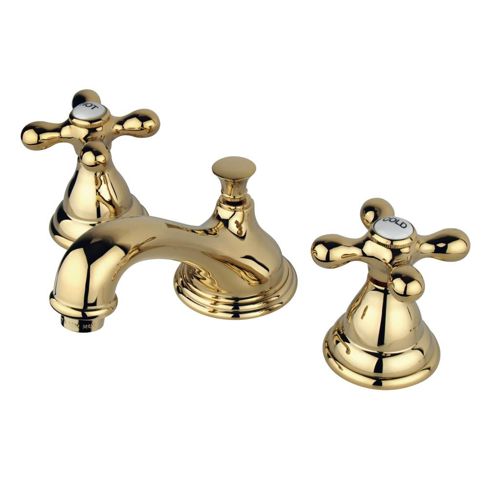 Kingston Polished Brass Royale 2 Hdl Widespread Bathroom Faucet w drain KS5562AX