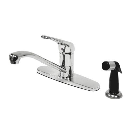 "Kingston Chrome Single Loop Handle 8"" Kitchen Faucet With Side Sprayer KS562C"