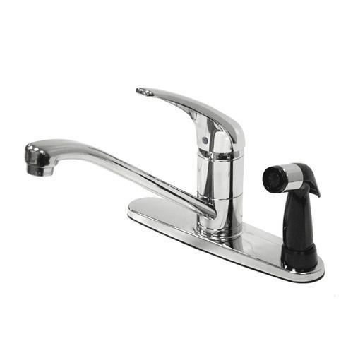 "Kingston Brass Chrome Single Handle 8"" Kitchen Faucet With Deck Sprayer KS573C"