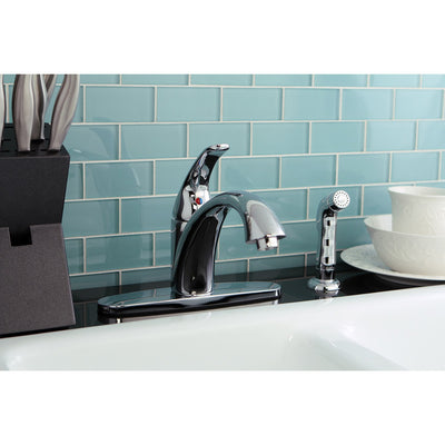 Kingston Brass Chrome Single Handle Kitchen Faucet With Sprayer KS6571VLSP