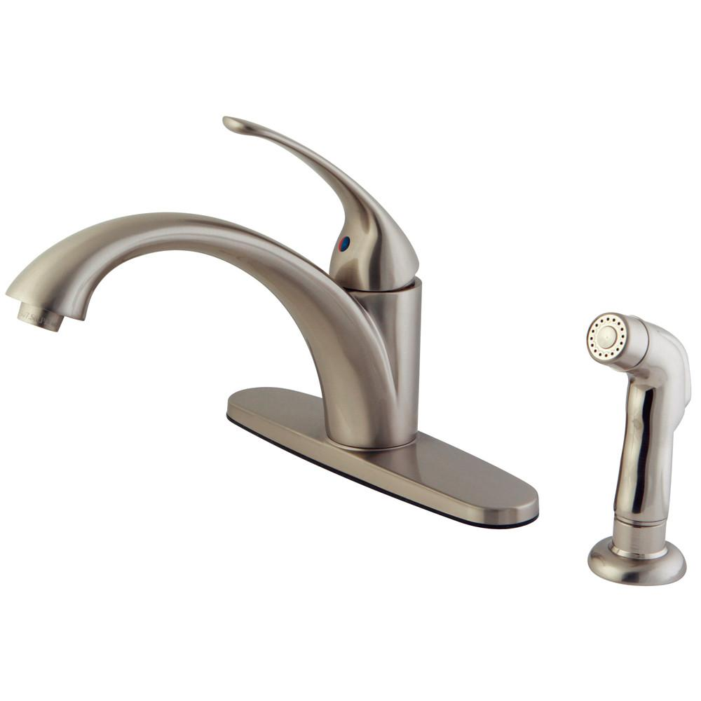Kingston Brass Satin Nickel Single Handle Kitchen Faucet With Sprayer KS6578VLSP