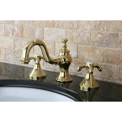 "Kingston Polished Brass French Country 8"" Widespread Bathroom Faucet KS7162TX"