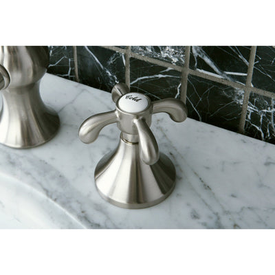 "Kingston Satin Nickel French Country 8"" Widespread Bathroom Faucet KS7168TX"