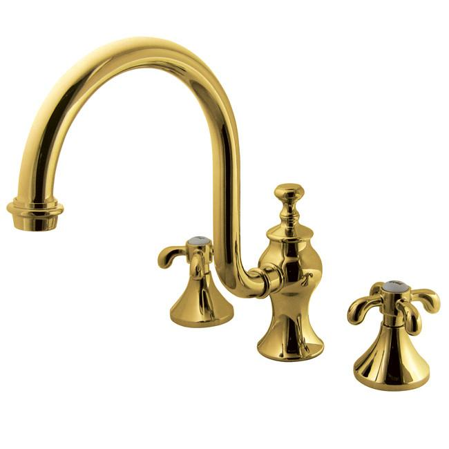 Kingston Polished Brass Roman Tub Filler Faucet w/ High Rise Spout KS7342TX