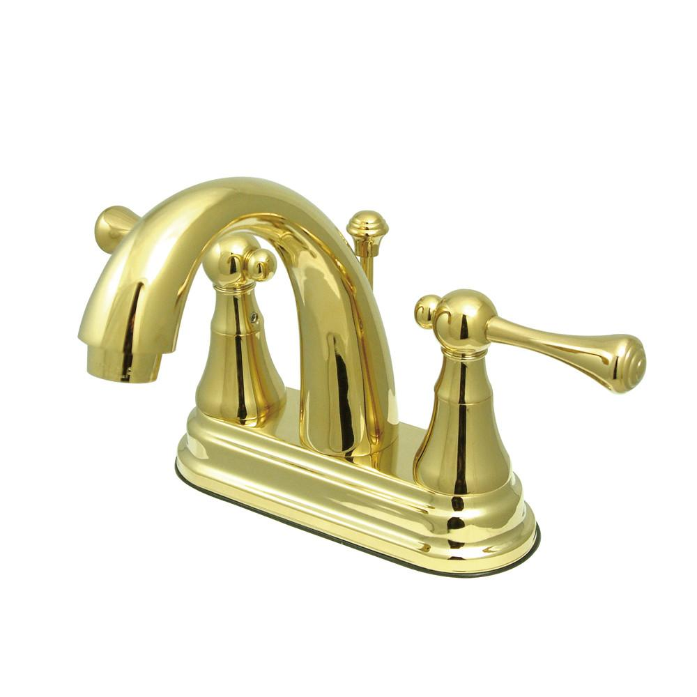 "Kingston Polished Brass English Vintage 4"" Centerset Bathroom Faucet KS7612BL"