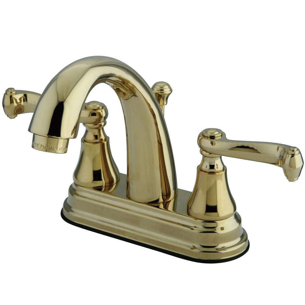 "Kingston Polished Brass 2 Handle 4"" Centerset Bathroom Faucet w Pop-up KS7612FL"