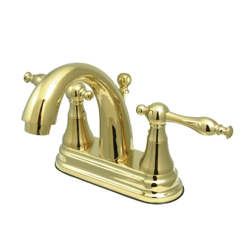 "Kingston Polished Brass 2 Handle 4"" Centerset Bathroom Faucet w Pop-up KS7612NL"