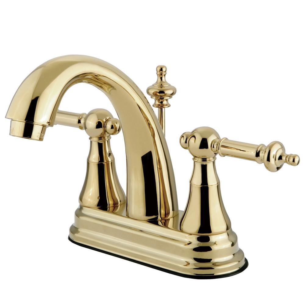 "Polished Brass Templeton high rise 4"" Centerset Bathroom faucet KS7612TL"