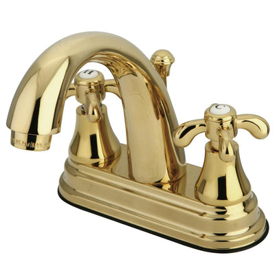 "Kingston Polished Brass French Country 4"" Center Set Bathroom Faucet KS7612TX"