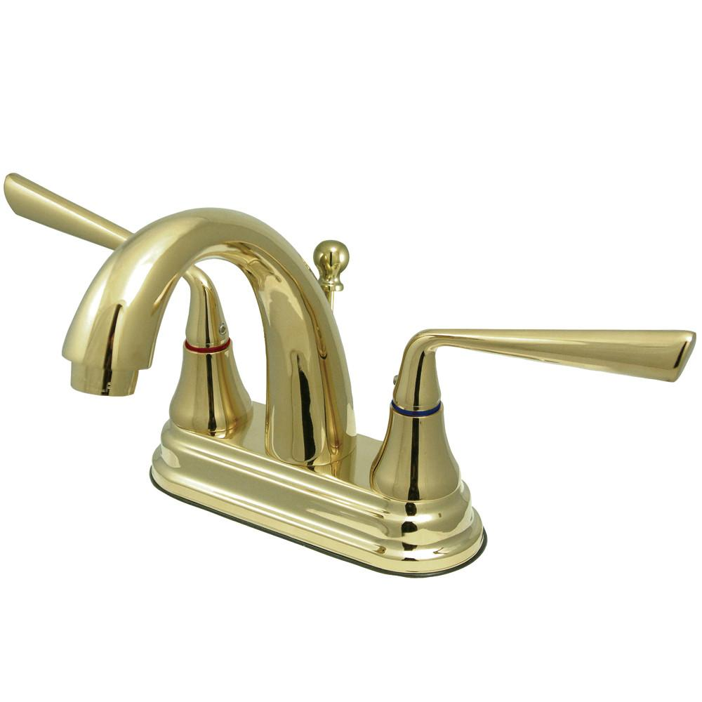 Kingston Silver Sage Polished Brass Centerset Bathroom Faucet W Drain KS7612ZL