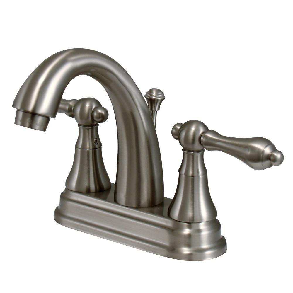 "Kingston Satin Nickel 2 Handle 4"" Centerset Bathroom Faucet w Pop-up KS7618AL"